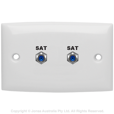 OUTLET DUAL WALLPLATE 2 X F FEMALE TO F FEMALE 3 GHz MARKED: SAT SAT