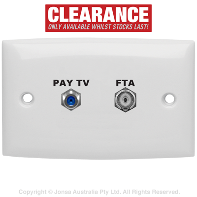 OUTLET DUAL WALLPLATE PAL FEMALE TO F FEMALE & F FEMALE TO F FEMALE 3 GHz MARKED: PAY TV, FTA