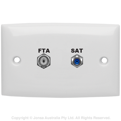 OUTLET DUAL WALLPLATE PAL FEMALE TO F FEMALE & F FEMALE TO F FEMALE 3 GHz MARKED: FTA SAT