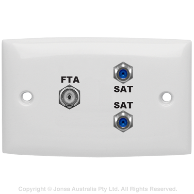 OUTLET TRIPLE WALLPLATE PAL FEMALE TO F FEMALE & 2 X F FEMALE TO 2 X F FEMALE 3 GHz MARKED: FTA SAT SAT